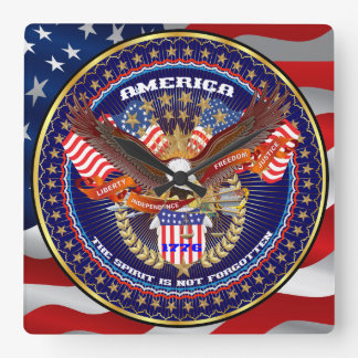 Patriotic All Styles Please View Artist Comments Square Wall Clock