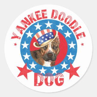 Patriotic Am Staff Classic Round Sticker