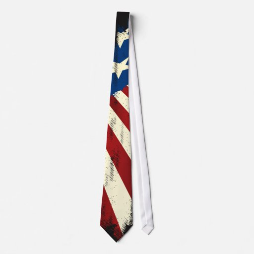 Patriotic  America Grunge Flag Tie