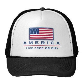 """Patriotic """"America Live Free Or Die"""" Hat"""