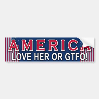 "Patriotic ""America Love Her Or GTFO"" sticker"