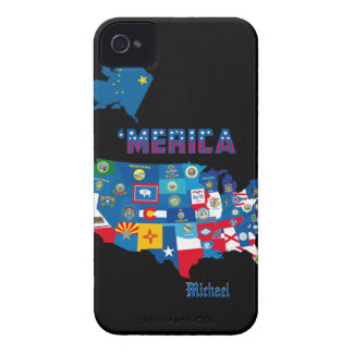 Patriotic America Map With States Flags iPhone 4 Case-Mate Case