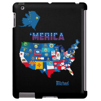 Patriotic America Map With States Flags iPad Case