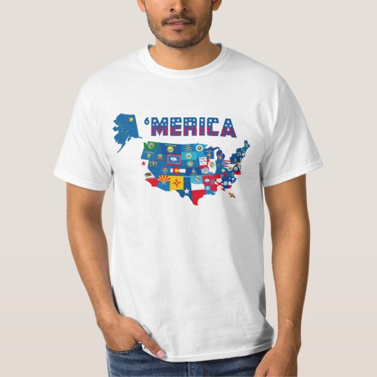 Patriotic America Map With States Flags T-Shirt