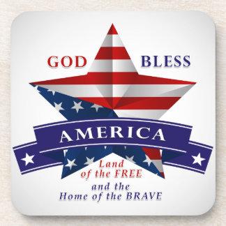 Patriotic America Star Design (v3) Beverage Coasters