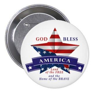 Patriotic America Star Design (v3) 3 Inch Round Button