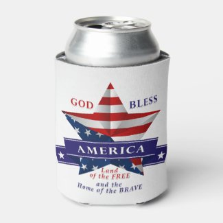 Patriotic America Star Design (v3) Can Cooler