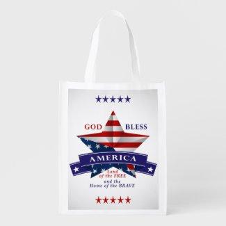 Patriotic America Star Design (v3) Market Tote