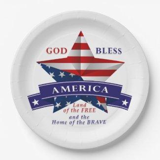 Patriotic America Star Design (v3) 9 Inch Paper Plate