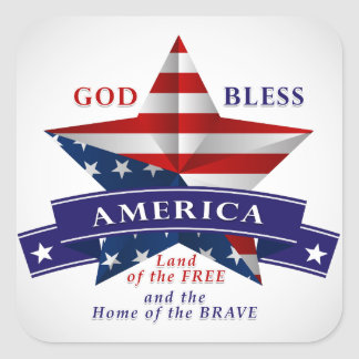 Patriotic America Star Design (v3) Square Sticker