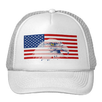 Patriotic American Bald Eagle & US Flag Hat