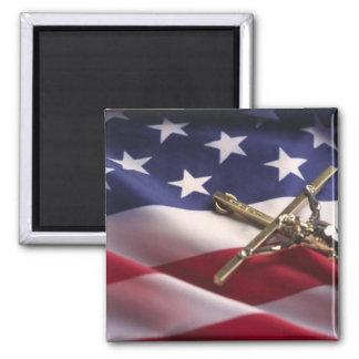 PATRIOTIC AMERICAN CHRISTIAN 2 INCH SQUARE MAGNET