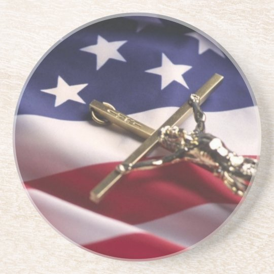 PATRIOTIC AMERICAN CHRISTIAN SANDSTONE COASTER