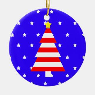 Patriotic American Christmas Striped Tree Ornament