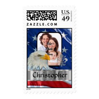 Patriotic American eagle and flag Postage Stamp