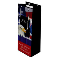 Patriotic American eagle and flag Wine Gift Bag