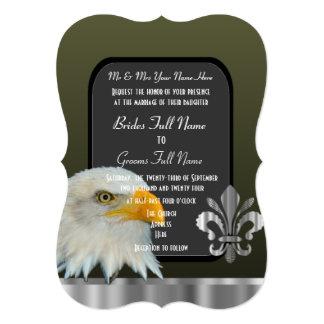 Patriotic American eagle army wedding Card