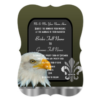 Patriotic American eagle army wedding Announcement