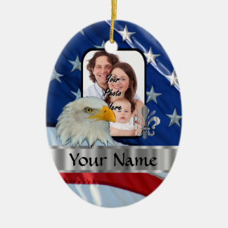 Patriotic American eagle Ceramic Ornament
