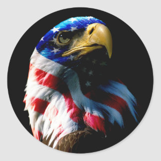 Patriotic American Eagle Classic Round Sticker