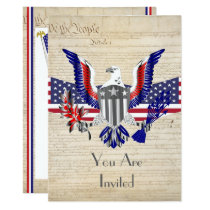 Patriotic American eagle, flag and constitution Invitation