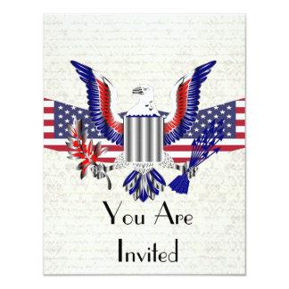 Patriotic American eagle & flag 4.25x5.5 Paper Invitation Card