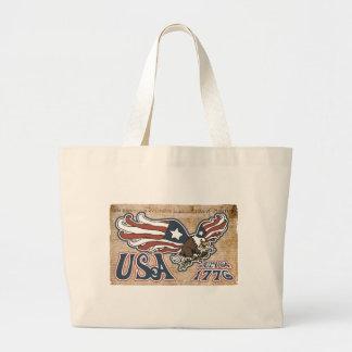Patriotic American Eagle Large Tote Bag