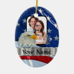 Patriotic American eagle Double-Sided Oval Ceramic Christmas Ornament