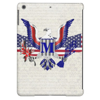 Patriotic American eagle personalized monogram Cover For iPad Air
