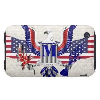 Patriotic American eagle personalized monogram iPhone 3 Tough Covers