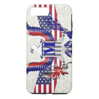 Patriotic American eagle personalized monogram iPhone 8 Plus/7 Plus Case