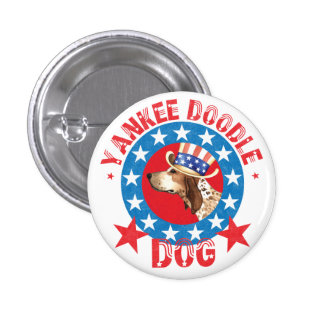 Patriotic American English Coonhound Button