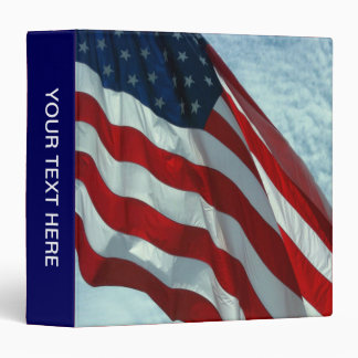 Patriotic American Flag 3 Ring Binder