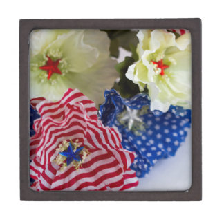 Patriotic American Flag 4th of July Flower Bouquet Jewelry Box