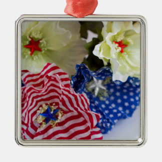 Patriotic American Flag 4th of July Flower Bouquet Metal Ornament