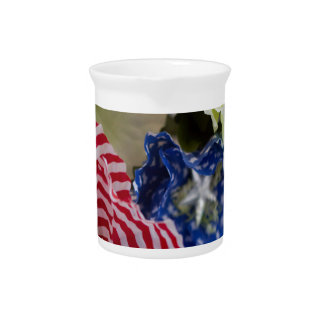 Patriotic American Flag 4th of July Flower Bouquet Pitcher