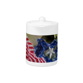Patriotic American Flag 4th of July Flower Bouquet Teapot