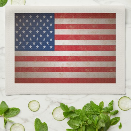 Patriotic American Flag 50 Stars Kitchen Towel Zazzle Com