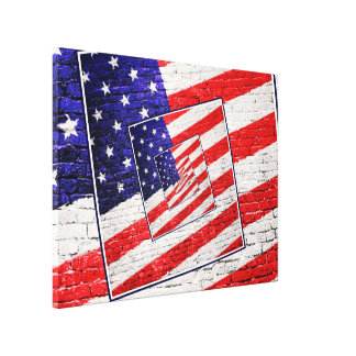 Patriotic American Flag Abstract Canvas Print