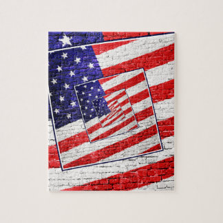 Patriotic American Flag Abstract Jigsaw Puzzle