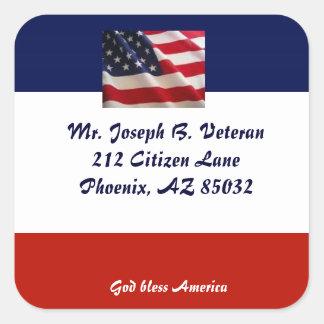 Patriotic American Flag address label Square Sticker
