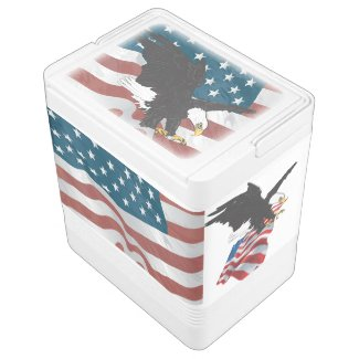 Patriotic American Flag and Eagle Cooler