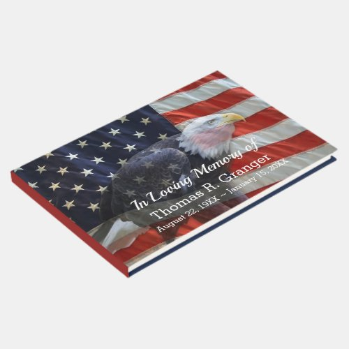 Patriotic American Flag and Eagle Guest Book