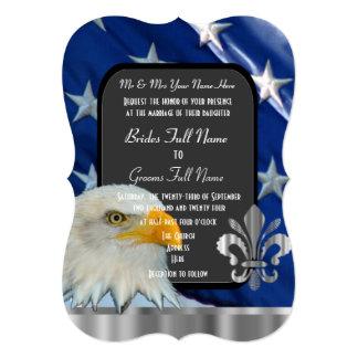 Patriotic American flag and eagle wedding Custom Announcement