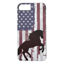 Patriotic American Flag and Silhouette Horse iPhone 8/7 Case