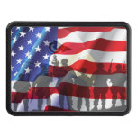 Patriotic American flag and soldiers Trailer Hitch Cover