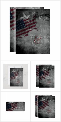 Patriotic American Flag and Stars Wedding Set