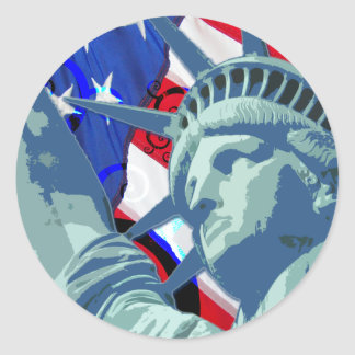 Patriotic American Flag and Statue of Liberty Stickers