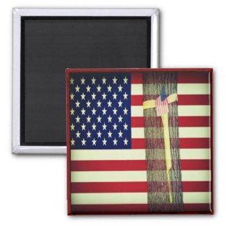 Patriotic American Flag and Yellow Ribbon Magnet Fridge Magnets