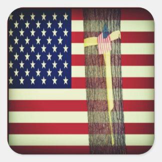 Patriotic American Flag and Yellow Ribbon Sticker Square Sticker